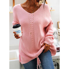 Solid Ribbed Chunky knit V-Neck Casual Sweaters