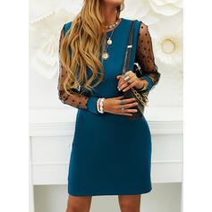 Solid/PolkaDot Long Sleeves Shift Above Knee Casual/Party Tunic Dresses