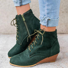 Women's Suede Chunky Heel Ankle Boots Round Toe With Zipper Lace-up Solid Color shoes