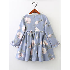 Girls Round Neck Floral Print Casual Cute Dress