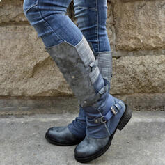 Women's PU Chunky Heel Knee High Boots Riding Boots Round Toe With Buckle Zipper Lace-up shoes