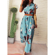 Print/Floral Short Sleeves A-line Shirt Casual/Vacation Maxi Dresses