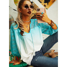 Gradient V-Neck 3/4 Sleeves Casual Blouses