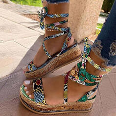 Women's Leatherette Wedge Heel Sandals Wedges With Lace-up shoes