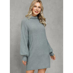 Solid Ribbed Chunky knit Round Neck Casual Long Sweaters