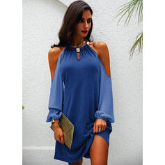 Solid/Backless Long Sleeves Shift Above Knee Casual Tunic Dresses