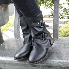 Women's PU Chunky Heel Martin Boots Round Toe With Rivet Zipper shoes