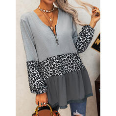 Color Block Leopard V-Neck Long Sleeves Casual Blouses