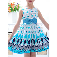 Girls Round Neck Print Bow Casual Cute Dress