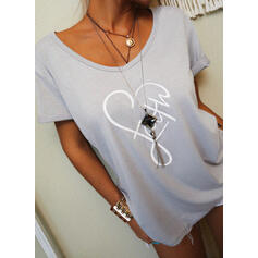 Print Heart Letter V-Neck Short Sleeves Casual T-shirts