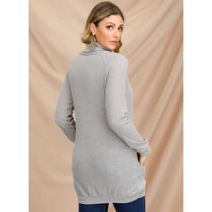 Solid Long Sleeves Shift Above Knee Casual Sweater Dresses