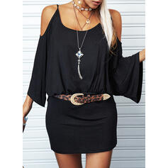 Solid 3/4 Sleeves/Batwing Sleeves Sheath Above Knee Casual Dresses