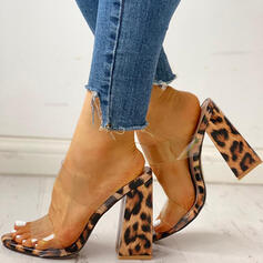 Women's PVC Chunky Heel Sandals Peep Toe Slippers With Animal Print shoes