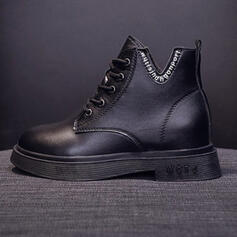 Women's PU Chunky Heel Boots Ankle Boots Riding Boots With Lace-up Split Joint Solid Color shoes