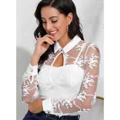 Solid Patchwork Lace Lapel Long Sleeves Casual Knit Blouses