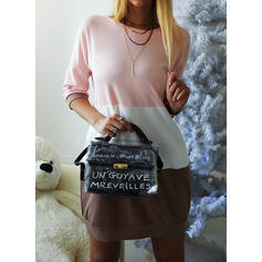 Color Block/Backless 1/2 Sleeves Shift Above Knee Casual Sweatshirt Dresses