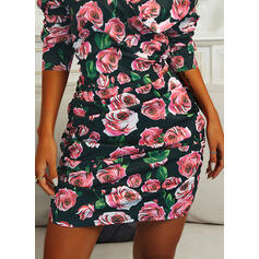 Print/Floral Long Sleeves Bodycon Above Knee Sexy/Casual Dresses