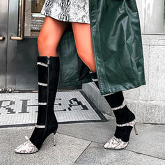 Women's PU Stiletto Heel Boots Mid-Calf Boots With Hollow-out shoes
