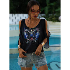 Animal Print Cold Shoulder 1/2 Sleeves Casual Blouses
