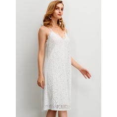 Lace/Solid Sleeveless Shift Knee Length Casual/Vacation Slip Dresses