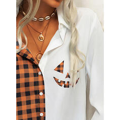 Print Plaid Lapel Long Sleeves Button Up Casual Halloween Shirt Blouses