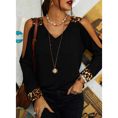 Solid Leopard Cold Shoulder Long Sleeves Casual Blouses