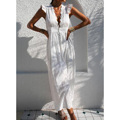 Lace/Solid Cap Sleeve A-line Skater Casual/Vacation Maxi Dresses
