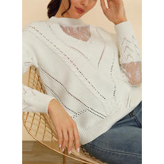 Solid Patchwork Cable-knit Crew Neck Casual Sweaters