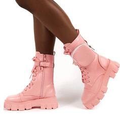 Women's Leatherette Low Heel Mid-Calf Boots Round Toe With Lace-up shoes
