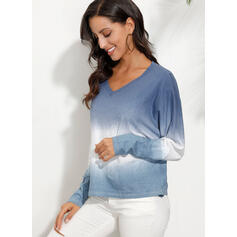 Tie Dye V-Neck 3/4 Sleeves Casual T-shirts