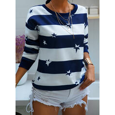 Print Color Block Round Neck Long Sleeves Sweatshirt