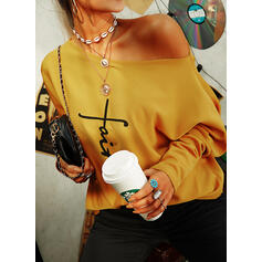 Print Figure One-Shoulder Long Sleeves Casual Knit Blouses