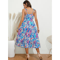 Print/Floral Sleeveless A-line Slip/Skater Sexy/Casual/Boho/Vacation Maxi Dresses
