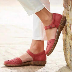 Women's PU Flat Heel Sandals Closed Toe With Buckle Hollow-out shoes
