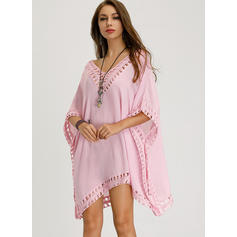 Solid 3/4 Sleeves Shift Above Knee Casual/Boho/Vacation Tunic Dresses