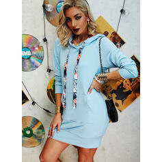 Solid Long Sleeves Sheath Above Knee Casual Sweatshirt Dresses