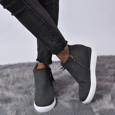 Women's Leatherette Flat Heel Ankle Boots With Zipper shoes