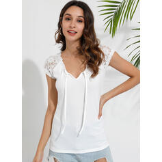 Solid Patchwork Lace Round Neck Short Sleeves Casual Knit Blouses