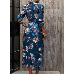 Print/Floral 3/4 Sleeves A-line Shirt/Skater Casual/Vacation Maxi Dresses