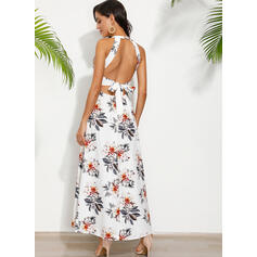 Print/Floral Sleeveless A-line Skater Sexy/Party Maxi Dresses