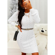 Solid Long Sleeves Bodycon Sweater/Pencil Casual Midi Dresses