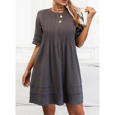 Solid 1/2 Sleeves Shift Above Knee Casual Tunic Dresses
