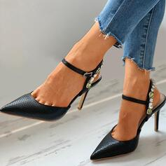 Women's PU Stiletto Heel Pumps Pointed Toe With Rhinestone Buckle shoes