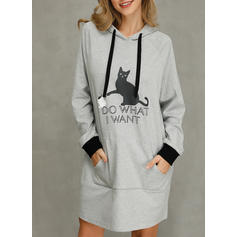 Animal Print Long Sleeves Shift Above Knee Casual Dresses