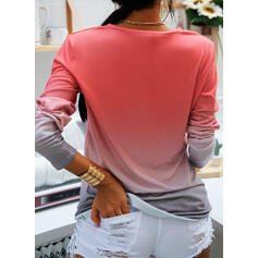 Gradient Round Neck Long Sleeves Casual T-shirts