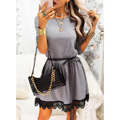 Lace/Solid Long Sleeves A-line Above Knee Casual Skater Dresses