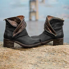 Women's PU Chunky Heel Boots With Zipper Split Joint shoes
