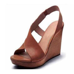 PU Wedge Heel Sandals With Buckle shoes