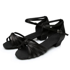 Kids' Latin Heels Sandals Satin With Ankle Strap Latin