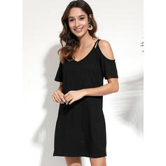 Solid Short Sleeves Shift Above Knee Little Black/Casual/Vacation Tunic Dresses